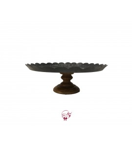 Galvanized Top with Wood Base Cake Stand: 12 Inches Wide x 4.5 Inches Tall