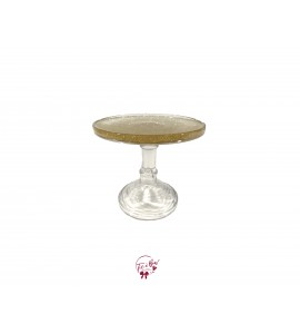 Clear Gold Glitter Cake Stand: 6 Inches Wide x 6 Inches Tall