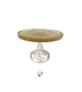 Clear Gold Glitter Cake Stand: 9.75 Inches Wide x 7 Inches Tall