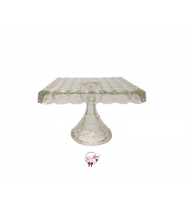 Clear Vintage Square Cake Stand: 10.25 Inches Wide x 7.5 Inches Tall