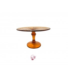 Amber (Dark) Vintage Cake Stand: 8 Inches Wide x 4.75 Inches Tall