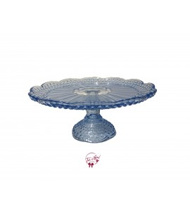 Blue: Vintage Blue Flower Design Cake Stand: 11 Inches Wide x  5 Inches Tall