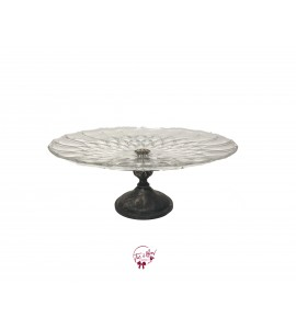 Clear: Vintage Clear Scale Design With Tall Pedestal Cake Stand: 12 Inches Wide x 5 Inches Tall