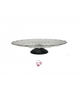 Clear: Vintage Clear Scale Design With Short Pedestal Cake Stand: 12 Inches Wide x 5 Inches Tall