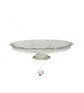 Clear: Vintage Clear Petal Design With Golden Trim Cake Stand: 13.5 Inches Wide x 3.75 Inches Tall