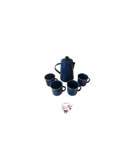 Camping Kit: Tin Coffee Pot and 4 Tin Cups