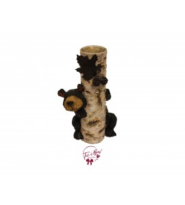 Candle Holder: Faux Birch Wood Large Candle Holder