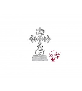 Cross: White Rustic Metal Cross
