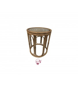 Accent Table: Rattan Table with Glass Top (Medium)