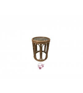 Accent Table: Rattan Table with Glass Top (Small)