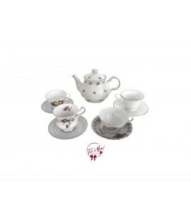 Vintage Tea Pot and 4 Tea Cup and Saucer Mixed Match Set