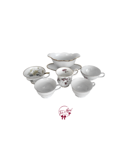 Vintage Bowl and 5 Tea Cup Mixed Match Set