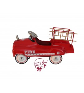 Fire Truck: Medium Vintage Metal Fire Truck with Bell