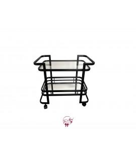 Black Bar Cart With Bottom Mirror Tray