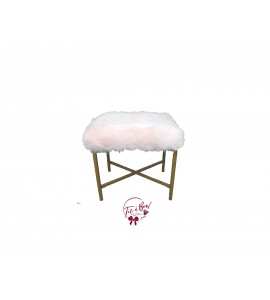 Stool: Blush Pink Faux Fur Stool with Dark Golden Legs