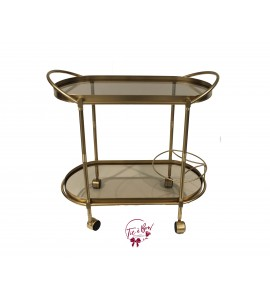 Cart: Golden Bar Cart with Glass Trays