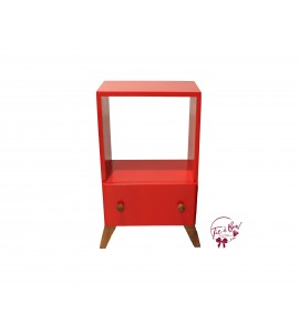 Accent Table: Red Shelf Table with Drawer