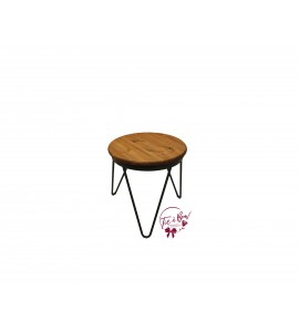 Accent Table: Small Round Rustic Wood Table with Metal Legs