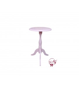 Accent Table: Small Light Pink 3-Footed Round Table