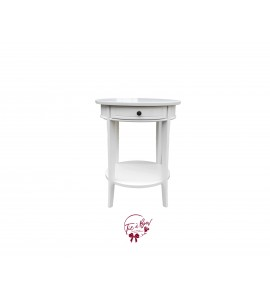Accent Table: 1 Drawer White Accent Table