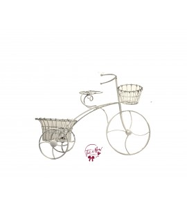 Tricycle: White Distressed Tricycle Planter
