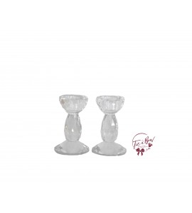 Candle Holder: Round Shaped Crystal Candle Holder Set of 2