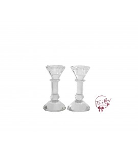 Candle Holder: Square Shaped Crystal Candle Holder Set of 2