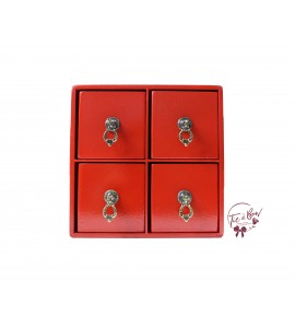 Red Mini 4 Drawer Cubby