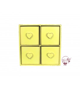 Yellow: Light Yellow Distressed Mini 4 Drawer Cubby With Heart Shaped Handles