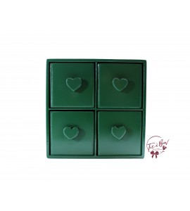 Green: Forest Green Mini 4 Drawer Cubby With Heart Shaped Handles