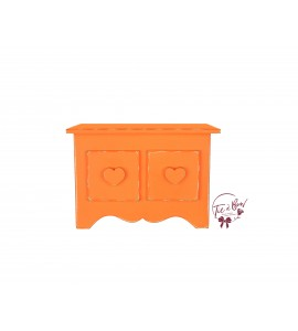 Orange: Neon Orange Distressed Mini Dresser With Heart Shaped Handles