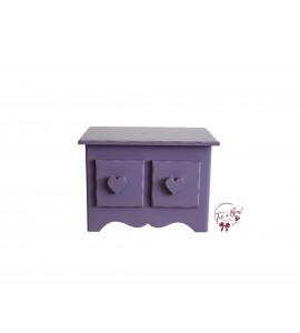 Lavender Mini Dresser With Heart Shaped Handles