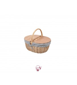 Basket: Picnic Basket With White and Navy Stripes