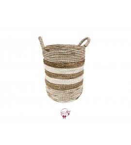 Basket: Seagrass Multiple Alternated Stripes Basket Large
