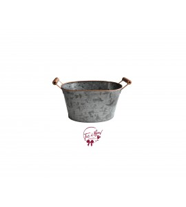 Galvanized Bucket With Copper Accents