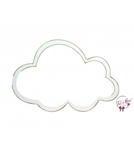 Cloud: 13.5 Inches Wide Distressed White Cloud Keyhole Silhouette