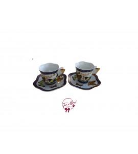 Tea Cup: Navy Blue Mini Butterfly Tea Cups Set of 2