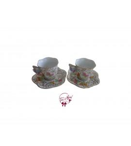 Tea Cup: Pastel Colors Mini Butterfly Tea Cups Set of 2