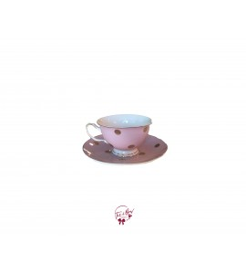 Tea Cup: Pink With Golden Polka Dots Tea Cup