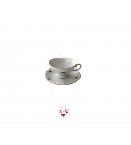 Tea Cup: Roses Print Tea Cup With Saucer