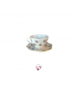 Tea Cup: White With Pink Flower Tea Cup