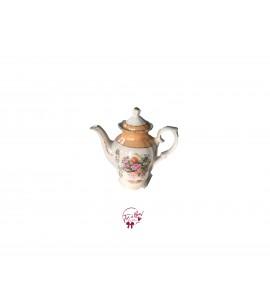 Tea Pot: Golden Tea Pot With Flowers Print