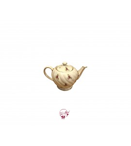 Tea Pot: Small Tea Pot with Golden and Flowers Accents