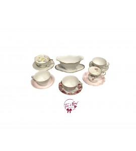 Vintage Bowl and 5 Tea Cup and Saucer Mixed Match Set