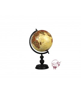 World Globe: Medium Wooden Vintage