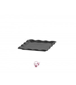 Black: Black Ruffled Edge Square Plate