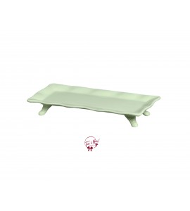 Green: Light Green Ruffled Edge Rectangular Footed Tray