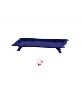 Blue: Navy Blue Ruffled Edge Rectangular Footed Tray