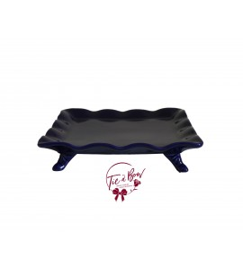 Blue: Navy Blue Ruffled Edge Square Footed Tray