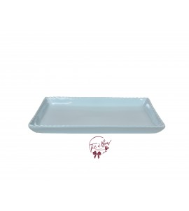 Blue: Light Blue 11.5 Wide Rectangular Ceramic Scalloped Tray